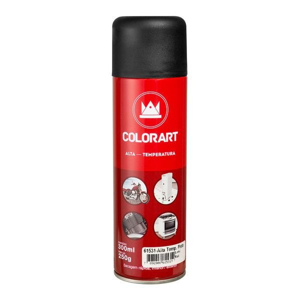 Tinta Spray Alta Temperatura Preto Fosco 300ml