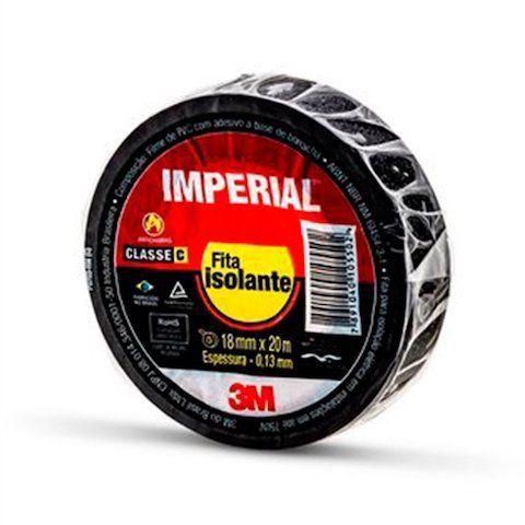 Fita Isolante Imperial 3M Preta 18mm x 20m
