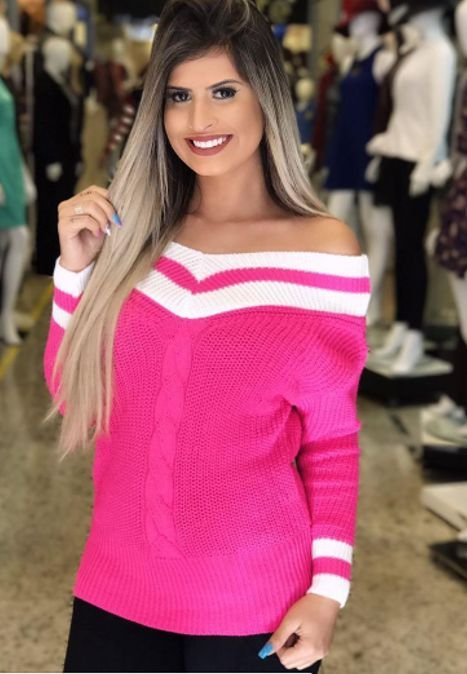 Blusa Tricot Inverno Crochê Colegial Moda feminina atacado