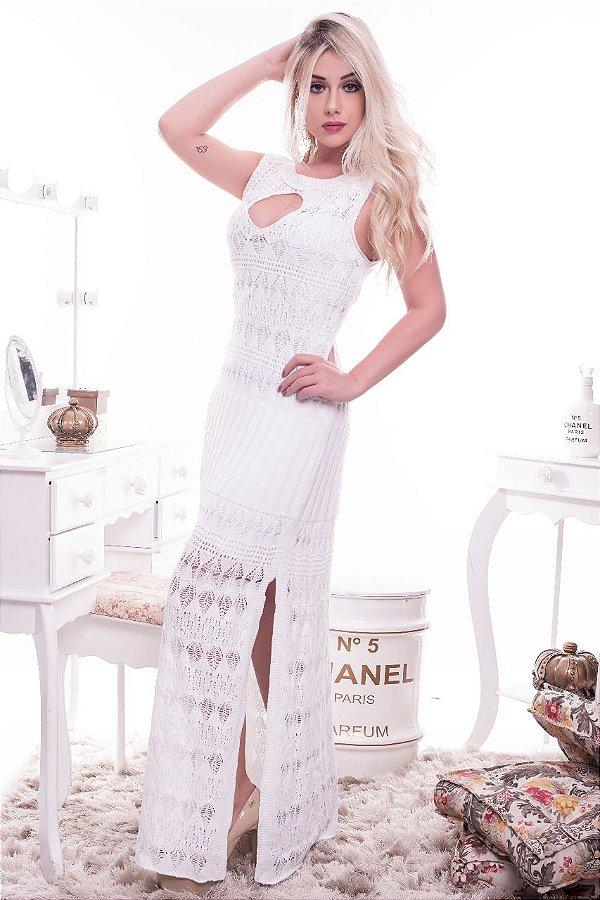 Vestido Longo De Tricot Tricô Crochê Rendado Verão Promoção