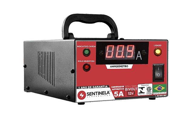 Carregador De Bateria 5A 12V Sentinela