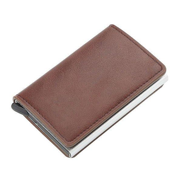 Carteira Couro Porta Cartões Antifurto RFID Compacta K9109 Marrom