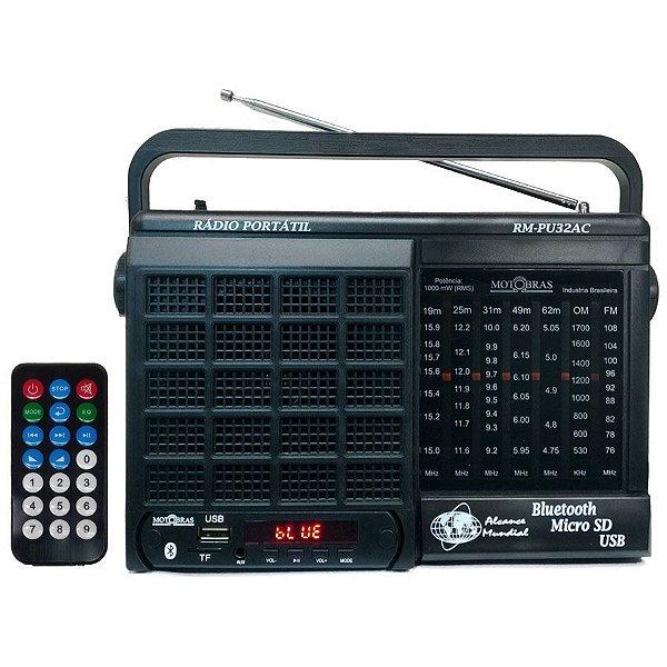 Radio Motobras 7 Faixas Bluetooth Usb AM/FM/OC 9698-2