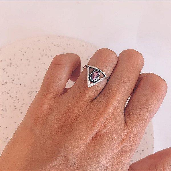 Anel de Prata Pedra Lilás de Resina