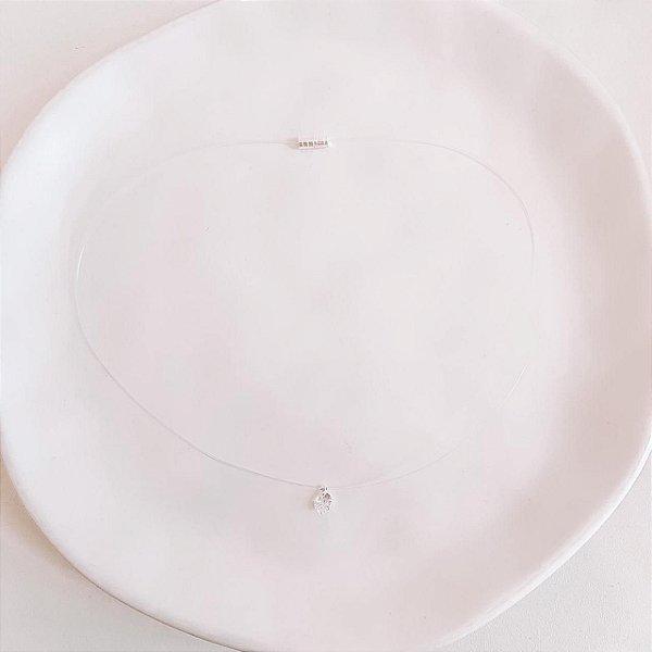 Colar de Nylon com Pingente Ponto de Luz e Fecho Rosqueado Banhado em Prata