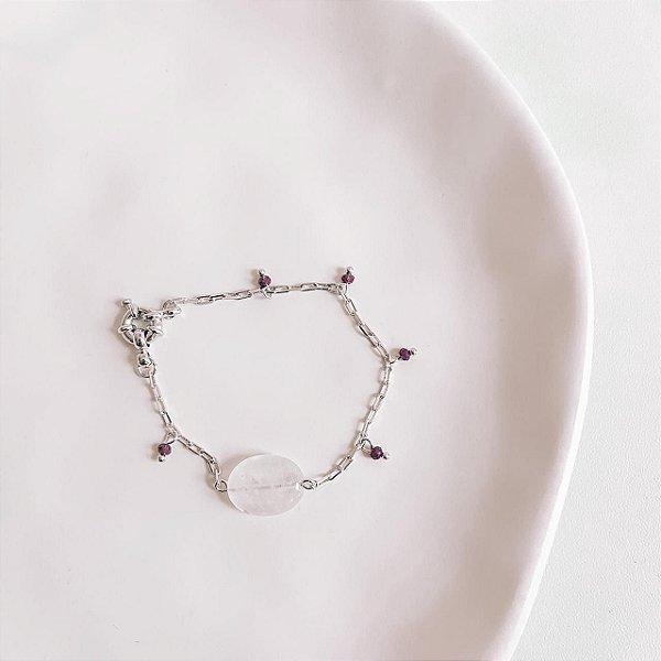 Pulseira Quartzo Rosa Claro com Miçangas Roxa Banhada em Ródio Branco