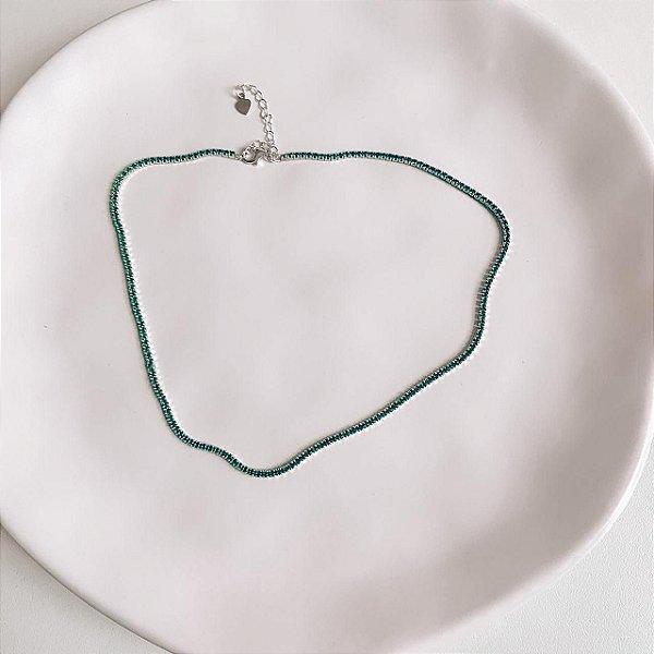 Choker de Prata com Mini Zircônias Verde Esmeralda