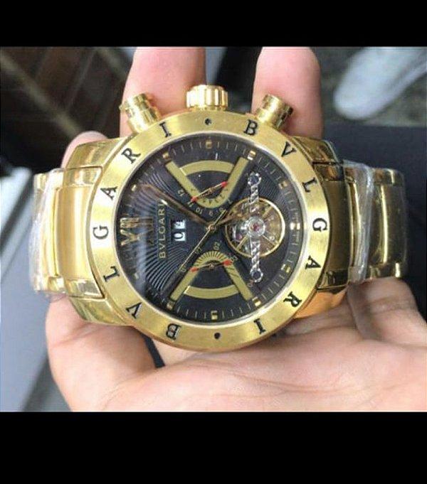 Bvlgari Iron Man -  Dourado Com Fundo Preto