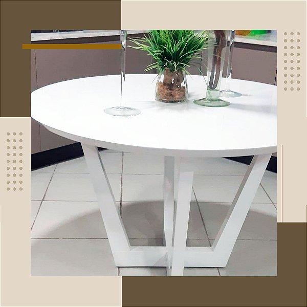 Mesa de Cozinha branca redonda 4 lugares