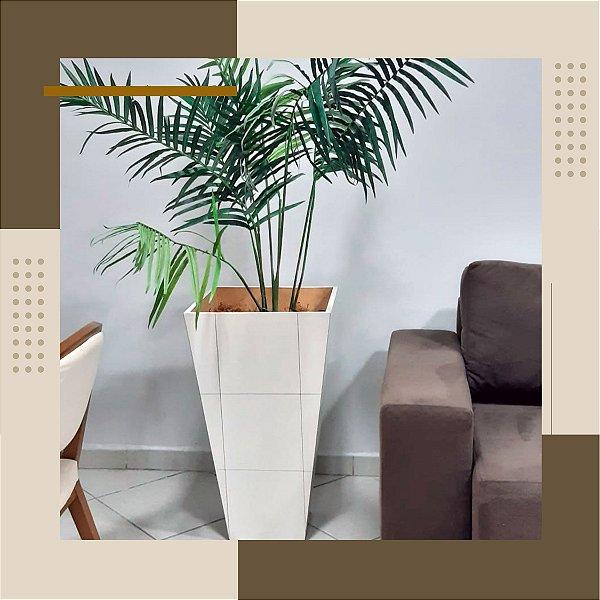 Vaso Cachepot Branco com Planta