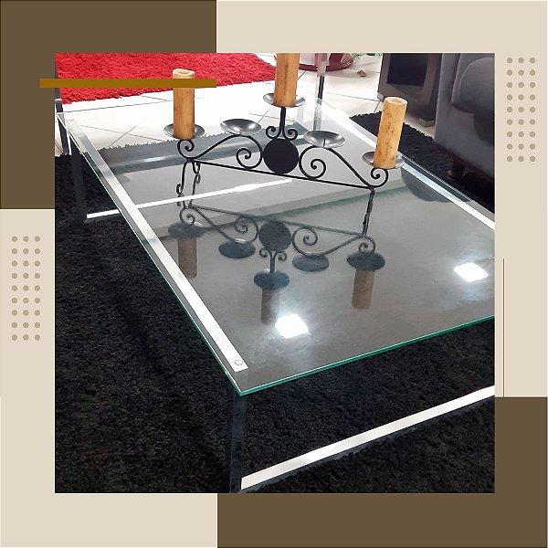 Centro Retangular em Aluminio Tampo de Vidro