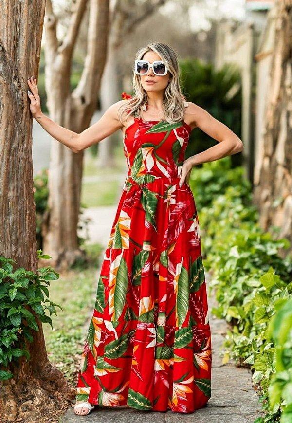 Vestido Longo 3 Marias Alça Larga Floral Vermelho Ref. E50