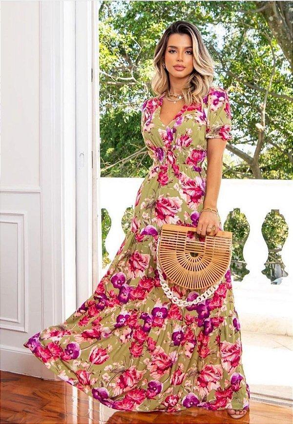 Vestido Longo 3 Marias Floral Verde/Pink Ref. E43