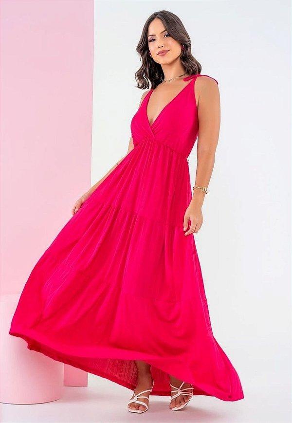 Vestido Longo 3 Marias de Alça Fina Pink Ref. L1L