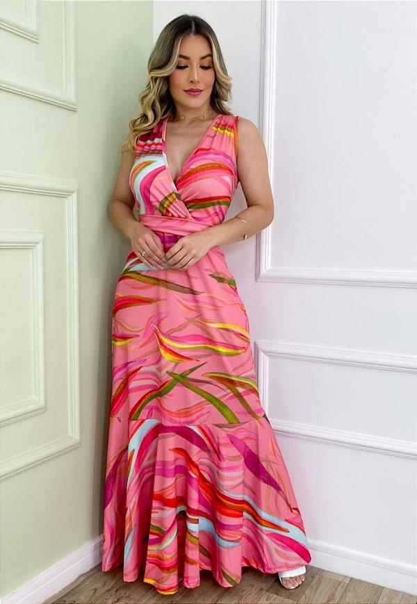Vestido Longo Sereia Estampado Rosa Ref. L8E