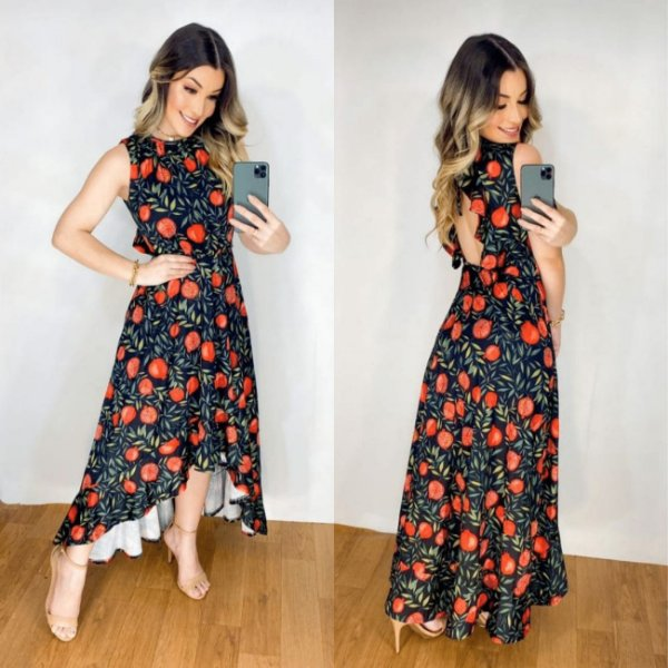 Vestido Mullet Sereia Decote nas Costas Floral  Preto/Vermelho Ref. M1L