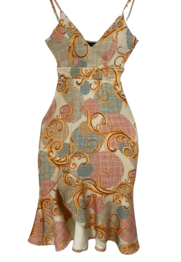 Vestido Midi Sereia de Alça Estampa Floral Laranja Ref. 21E
