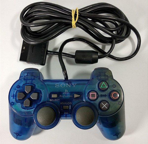 Controle Original Azul translúcido - PS2