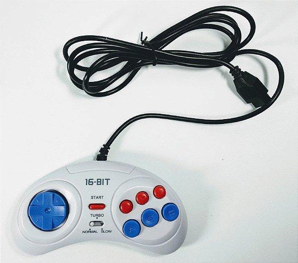 Controle 6 botões função turbo - Mega Drive