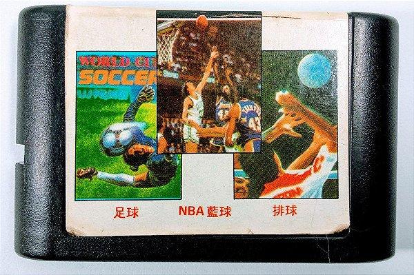 3 in 1 (World Soccer - Volley Ball - NBA Celtics vs Lakers) - Mega Drive