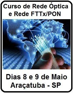 Curso Rede Óptica e Rede FTTX/PON em Araçatuba-SP, Duração 16 horas, 20 participantes, Certificado, Dias 8 e 9 de Maio 2015.