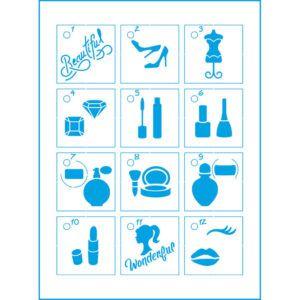 STENCIL LITOARTE STMI 014 12 STENCEIS 4,5 CM + CAPA ACRILICA E ARGOLA METÁLICA