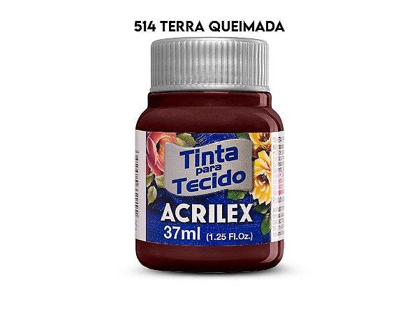 TINTA PARA TECIDO 37ML 514 TERRA QUEIMADA ACRILEX