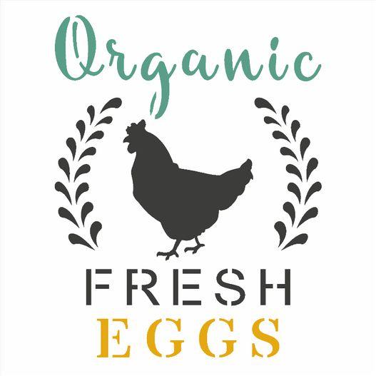 STENCIL OPA 14X14 FARMHOUSE ORGANIC FRESH EGGS