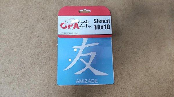 STENCIL 10X10 - IDEOGRAMA AMIZADE