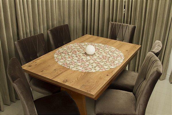 Toalha de Chá Redonda Luxo Floral