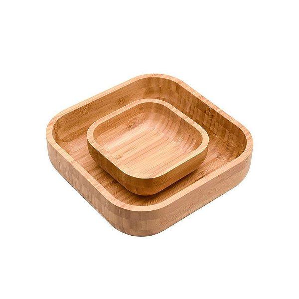 Conjunto Bowl em Bambu Quadrado 23 cm - Oikos
