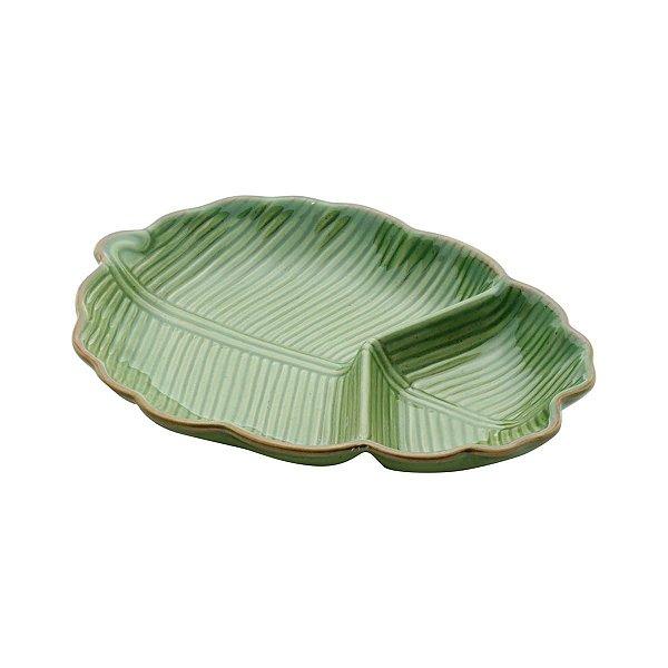 Petisqueira Folha Cerâmica Banana Leaf Verde 25,5x20,5x4cm