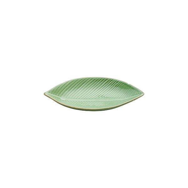 Prato Cerâmica Banana Leaf Verde 21x11x3cm
