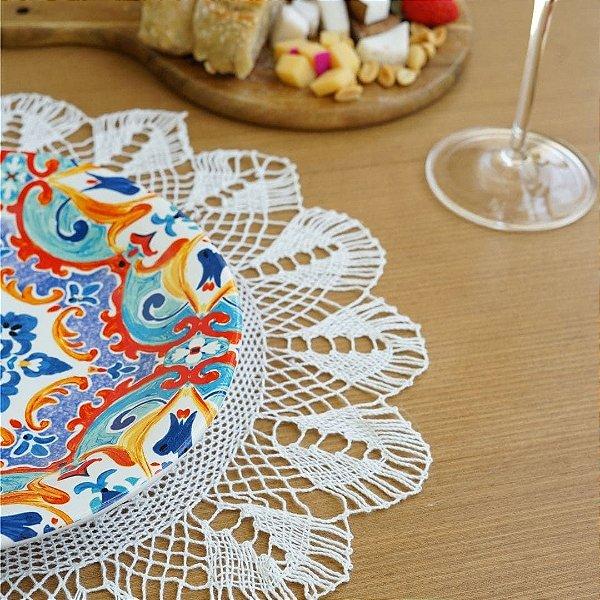 Sousplat Mosaico em Renda de Bilros Redondo 36cm diâmetro na cor branca