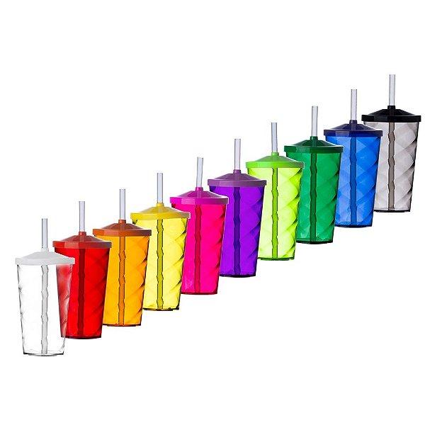 Copo 550 ml Twister com tampa e canudo e personalizado