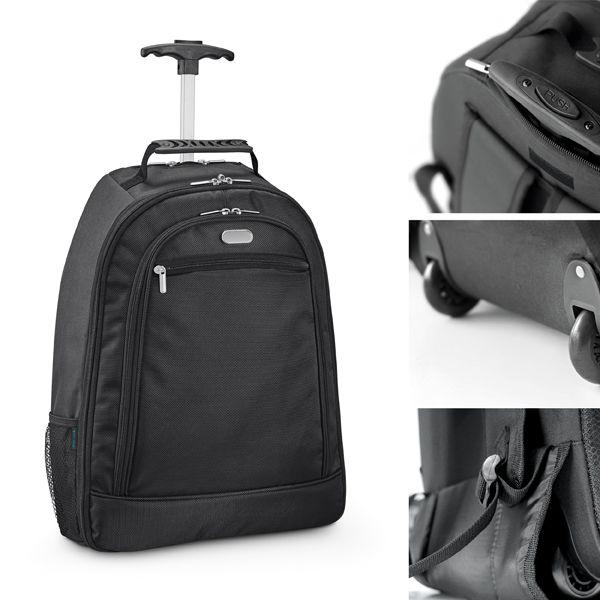 Mochila trolley para notebook. 1680D e 300D. Com 2 rodas. Compartimento principal almofadado para notebook 15.6''.