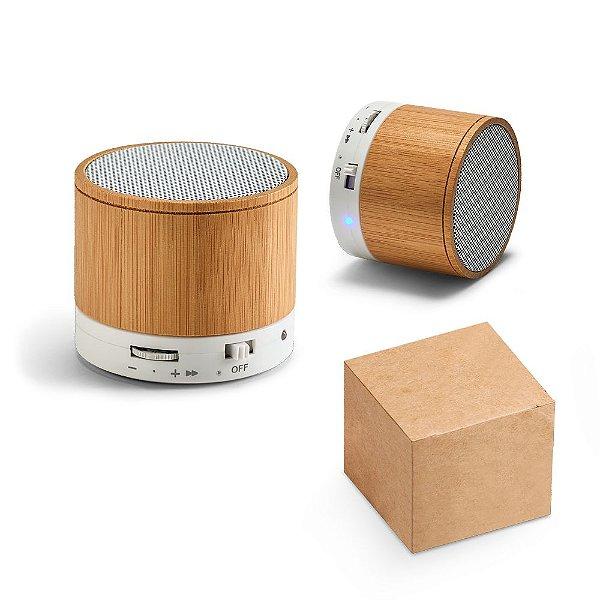 Caixa de som com microfone. Bambu. Com transmissão por bluetooth, ligação stereo 3,5 mm e leitor de cartões
