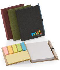 Bloco de anotações com capa dura, sticky notes e miolo sem pauta na cor branca.