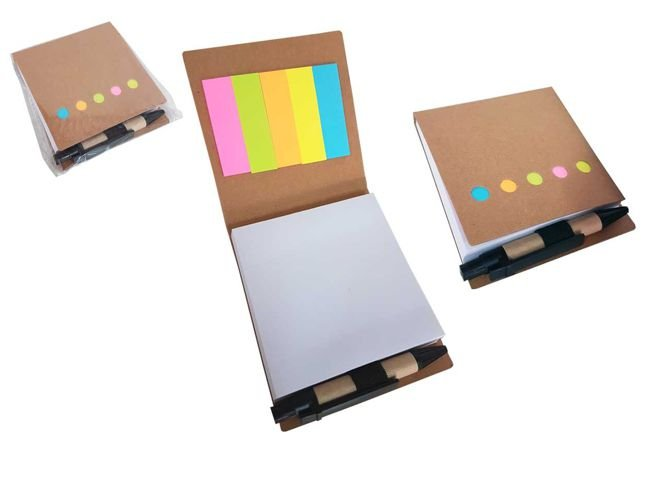 Mini bloco de anotações ecológico com autoadesivos e caneta.