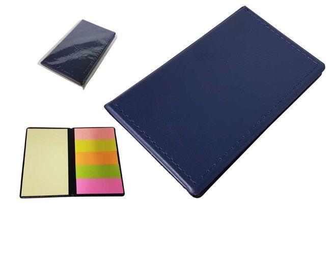 Bloco de anotações em couro sintético com autoadesivos, frente e verso liso.