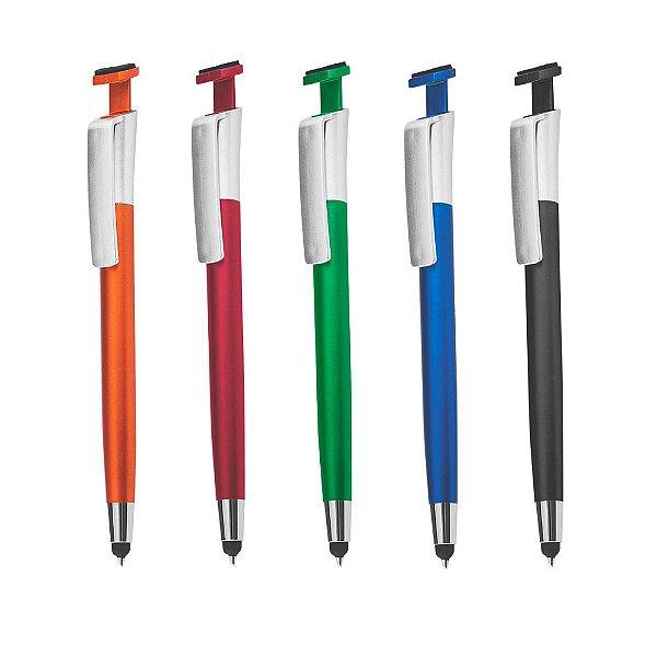 Caneta plástica com ponta touch, suporte para celular e limpa tela