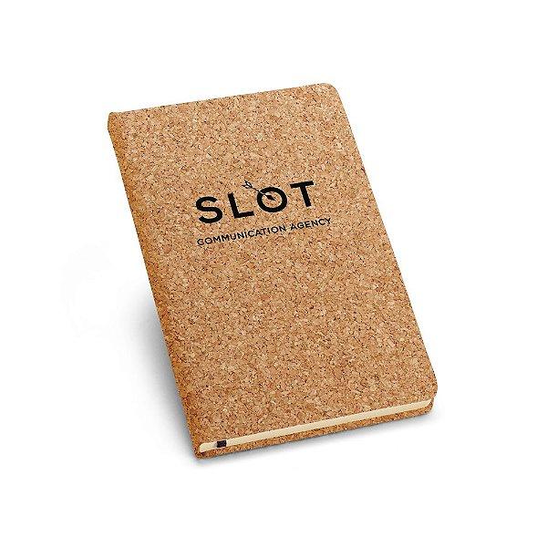 Caderno capa dura de cortiça A6 com 80 folhas não pautadas cor marfim.