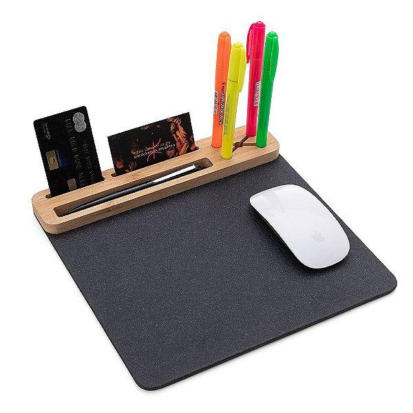 Mouse Pad em material sintético grafite e bambu com suporte smartphone
