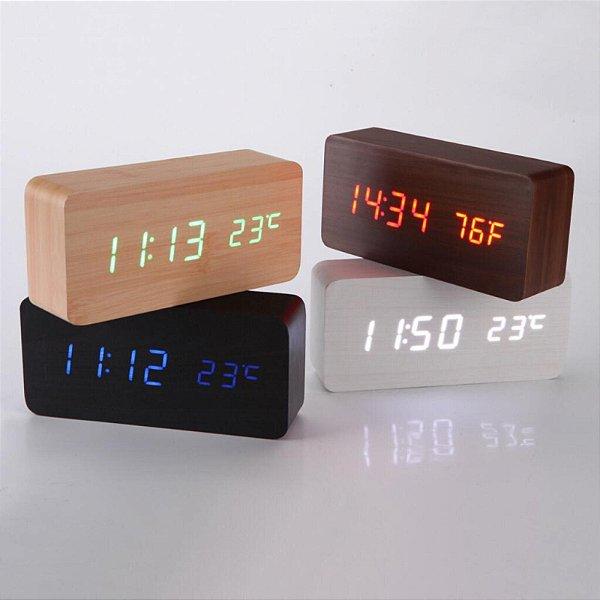 Relógio De Mesa Digital com Termômetro Tipo Madeira