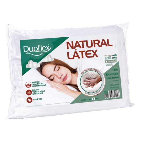 Travesseiro Natural Latex 50x70x14cm Duoflex