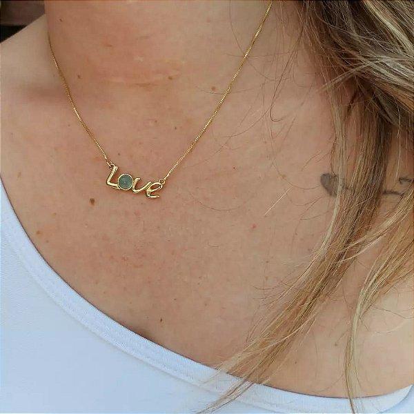 Colar Love folheado a Ouro com pedrinha Ágata Azul com 43cm+07cm de extensor