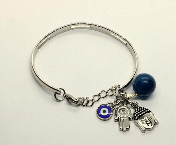 Pulseira rígida patuá/proteção, pingente buda, mão de hamsá, olho grego e Ágata Azul.