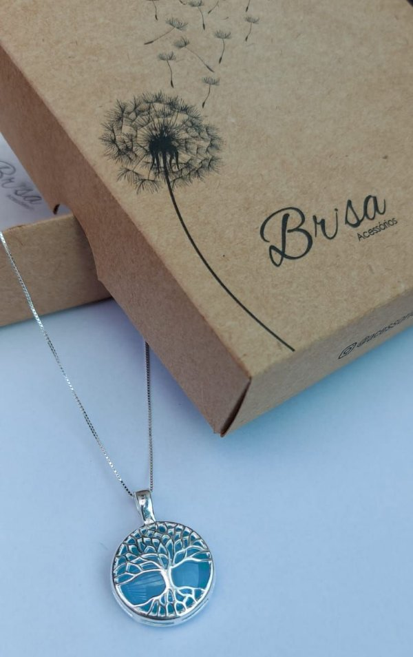 Colar Prata 925 + Pingente Árvore da Vida com Ágata Azul, corrente  45cm não possui extensor