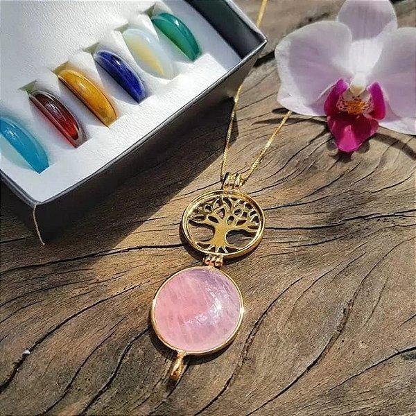 ⭐ Caixa : 𝑨́𝒓𝒗𝒐𝒓𝒆 𝒅𝒂 𝑽𝒊𝒅𝒂 : folheada a Ouro com 07 pedras naturais.🎁