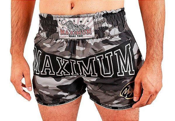 Shorts de Muay Thai Maximum Camuflado Cinza